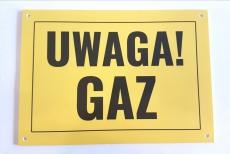 """TABLICZKA OZNACZENIOWA """"UWAGA GAZ"""""""