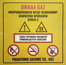 TABLICZKA OSTRZEGAWCZA UWAGA GAZ