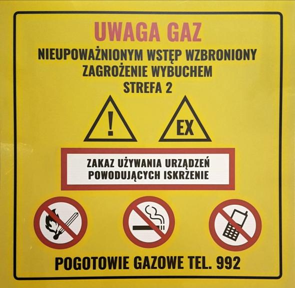 TABLICZKA OSTRZEGAWCZA UWAGA GAZ - Zdjcie