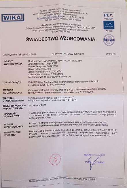 MANOMETR DO PRB CINIENIA 160 0-006 M ZE WIADECTWEM - Zdjcie 2
